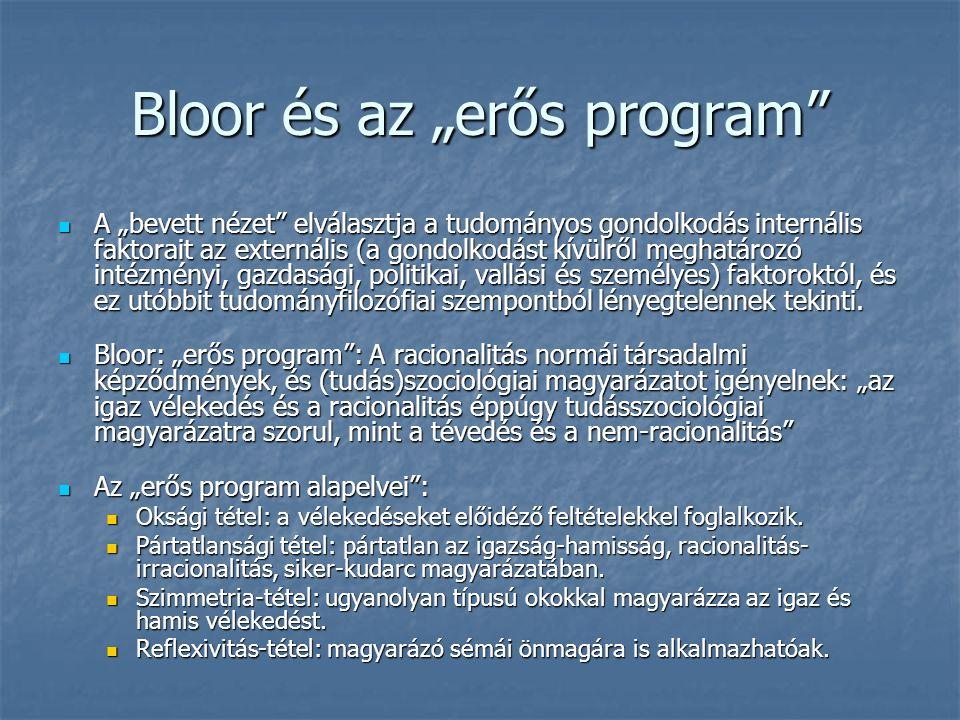 """Bloor és az """"erős program A """"bevett nézet elválasztja a tudományos gondolkodás internális faktorait az externális (a gondolkodást kívülről meghatározó intézményi, gazdasági, politikai, vallási és személyes) faktoroktól, és ez utóbbit tudományfilozófiai szempontból lényegtelennek tekinti."""