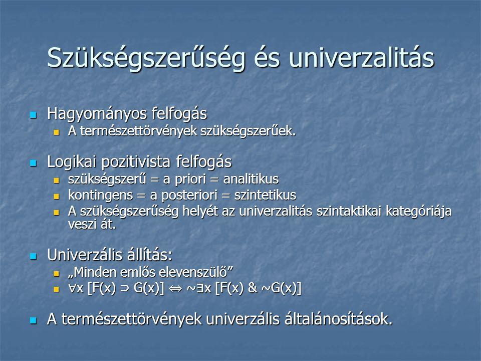 Szükségszerűség és univerzalitás Hagyományos felfogás Hagyományos felfogás A természettörvények szükségszerűek.