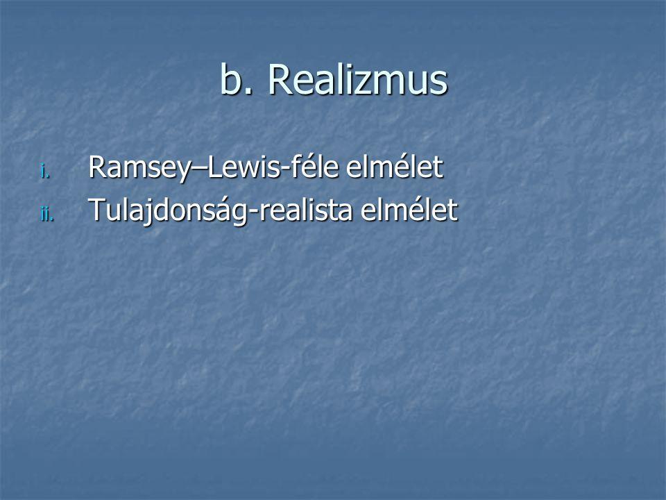 b. Realizmus i. Ramsey–Lewis-féle elmélet ii. Tulajdonság-realista elmélet