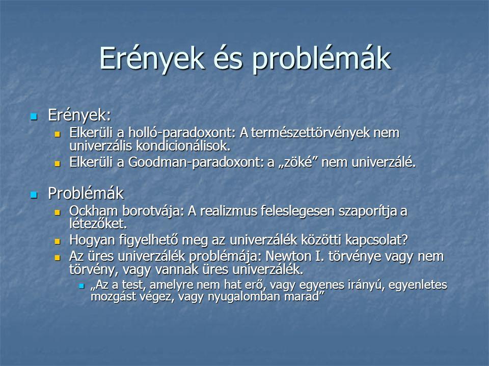 Erények és problémák Erények: Erények: Elkerüli a holló-paradoxont: A természettörvények nem univerzális kondicionálisok.