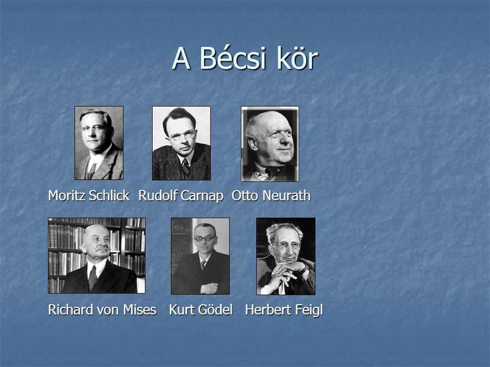 A Bécsi kör Moritz Schlick Rudolf Carnap Otto Neurath Moritz Schlick Rudolf Carnap Otto Neurath Richard von Mises Kurt Gödel Herbert Feigl