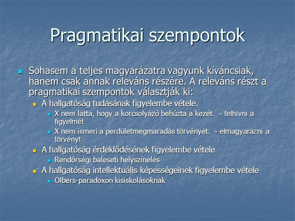 Pragmatikai szempontok Sohasem a teljes magyarázatra vagyunk kíváncsiak, hanem csak annak releváns részére.