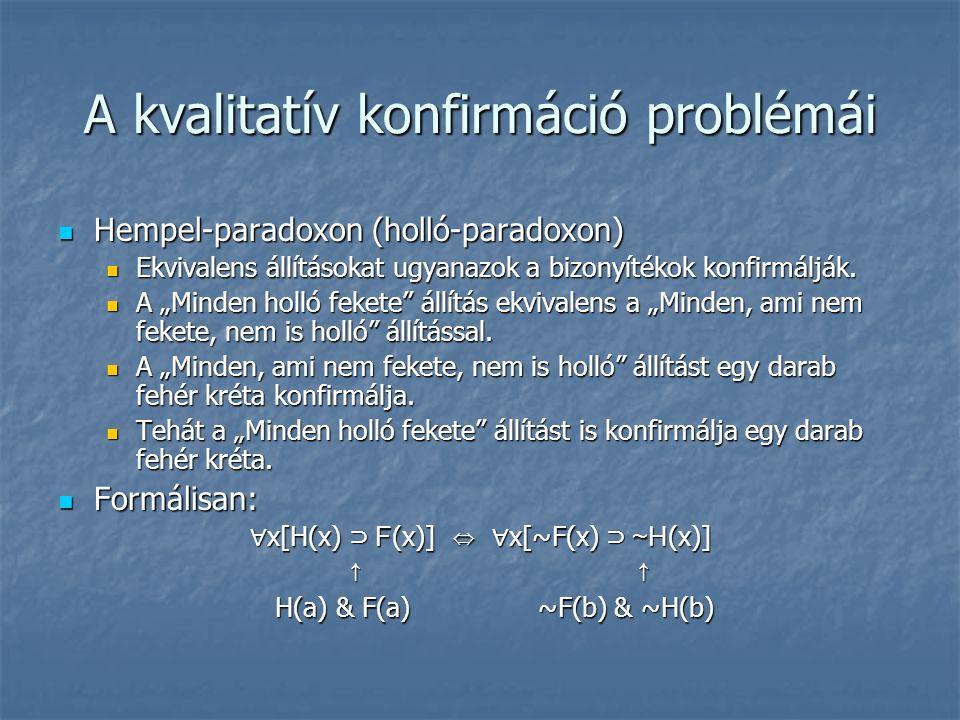 A kvalitatív konfirmáció problémái Hempel-paradoxon (holló-paradoxon) Hempel-paradoxon (holló-paradoxon) Ekvivalens állításokat ugyanazok a bizonyítékok konfirmálják.