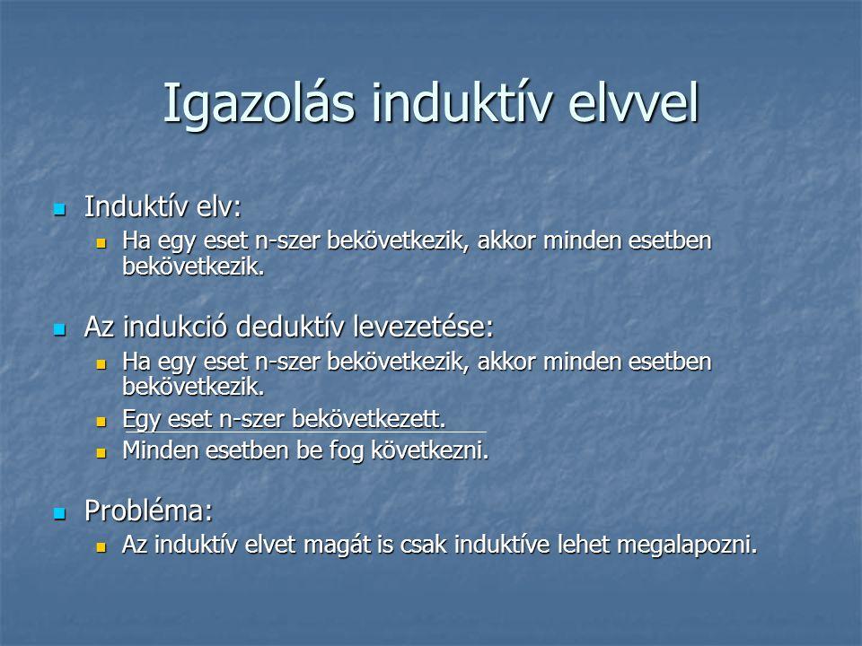 Igazolás induktív elvvel Induktív elv: Induktív elv: Ha egy eset n-szer bekövetkezik, akkor minden esetben bekövetkezik.