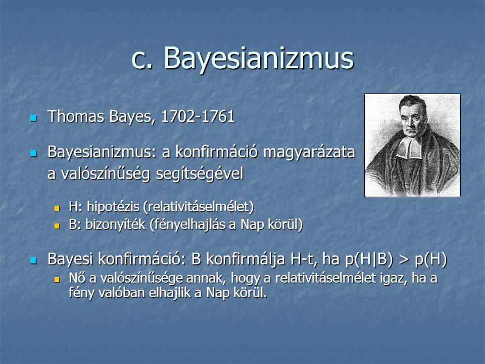 c. Bayesianizmus Thomas Bayes, 1702-1761 Thomas Bayes, 1702-1761 Bayesianizmus: a konfirmáció magyarázata Bayesianizmus: a konfirmáció magyarázata a v