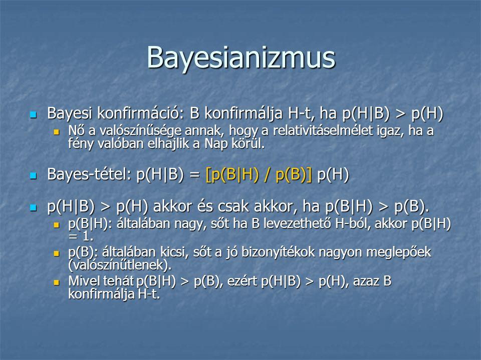 Bayesianizmus Bayesi konfirmáció: B konfirmálja H-t, ha p(H|B) > p(H) Bayesi konfirmáció: B konfirmálja H-t, ha p(H|B) > p(H) Nő a valószínűsége annak, hogy a relativitáselmélet igaz, ha a fény valóban elhajlik a Nap körül.