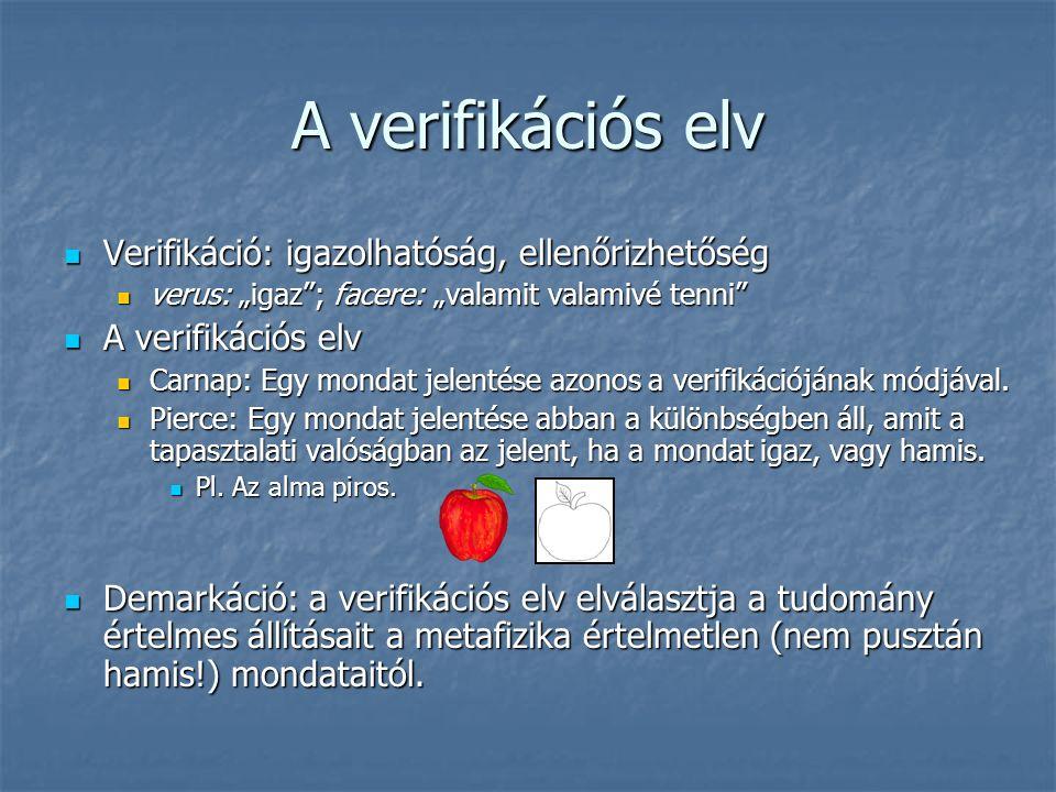 """A verifikációs elv Verifikáció: igazolhatóság, ellenőrizhetőség Verifikáció: igazolhatóság, ellenőrizhetőség verus: """"igaz ; facere: """"valamit valamivé tenni verus: """"igaz ; facere: """"valamit valamivé tenni A verifikációs elv A verifikációs elv Carnap: Egy mondat jelentése azonos a verifikációjának módjával."""