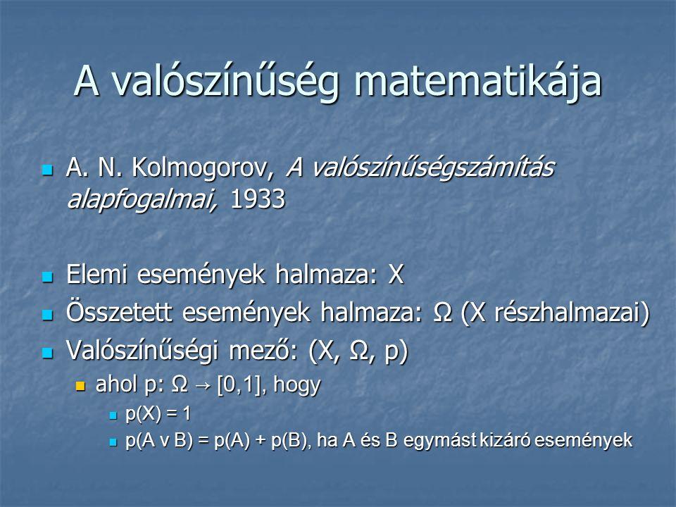 A valószínűség matematikája A. N. Kolmogorov, A valószínűségszámítás alapfogalmai, 1933 A.