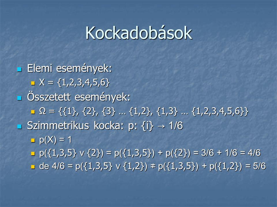 Kockadobások Elemi események: Elemi események: X = {1,2,3,4,5,6} X = {1,2,3,4,5,6} Összetett események: Összetett események: Ω = {{1}, {2}, {3} … {1,2}, {1,3} … {1,2,3,4,5,6}} Ω = {{1}, {2}, {3} … {1,2}, {1,3} … {1,2,3,4,5,6}} Szimmetrikus kocka: p: {i} → 1/6 Szimmetrikus kocka: p: {i} → 1/6 p(X) = 1 p(X) = 1 p( {1,3,5} v {2} ) = p( {1,3,5} ) + p( {2} ) = 3/6 + 1/6 = 4/6 p( {1,3,5} v {2} ) = p( {1,3,5} ) + p( {2} ) = 3/6 + 1/6 = 4/6 de 4/6 = p( {1,3,5} v {1,2} ) ≠ p( {1,3,5} ) + p( {1,2} ) = 5/6 de 4/6 = p( {1,3,5} v {1,2} ) ≠ p( {1,3,5} ) + p( {1,2} ) = 5/6