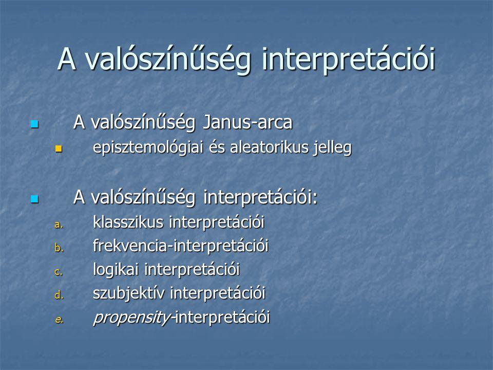 A valószínűség interpretációi A valószínűség Janus-arca A valószínűség Janus-arca episztemológiai és aleatorikus jelleg episztemológiai és aleatorikus jelleg A valószínűség interpretációi: A valószínűség interpretációi: a.