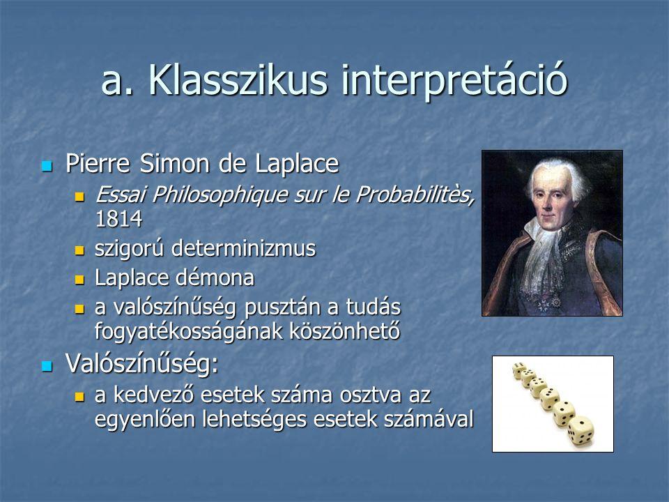 a. Klasszikus interpretáció Pierre Simon de Laplace Pierre Simon de Laplace Essai Philosophique sur le Probabilitès, 1814 Essai Philosophique sur le P