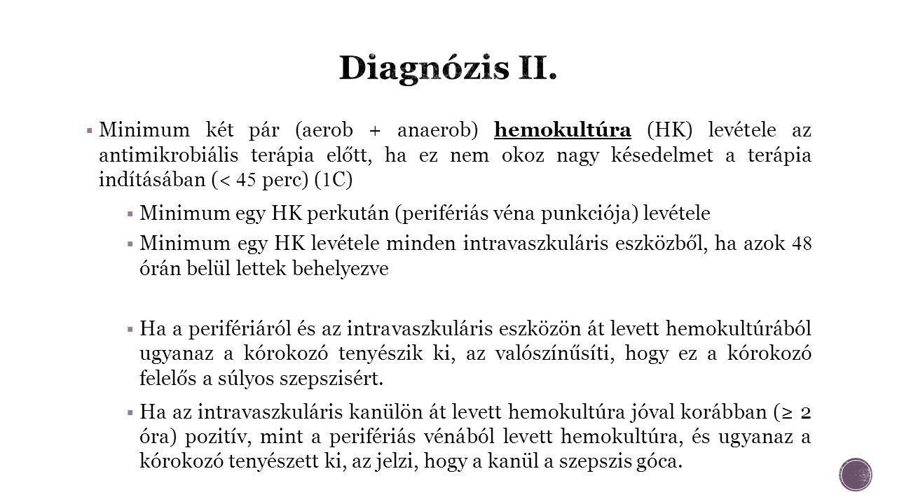  Minimum két pár (aerob + anaerob) hemokultúra (HK) levétele az antimikrobiális terápia előtt, ha ez nem okoz nagy késedelmet a terápia indításában (< 45 perc) ( 1 C)  Minimum egy HK perkután (perifériás véna punkciója) levétele  Minimum egy HK levétele minden intravaszkuláris eszközből, ha azok 48 órán belül lettek behelyezve  Ha a perifériáról és az intravaszkuláris eszközön át levett hemokultúrából ugyanaz a kórokozó tenyészik ki, az valószínűsíti, hogy ez a kórokozó felelős a súlyos szepszisért.