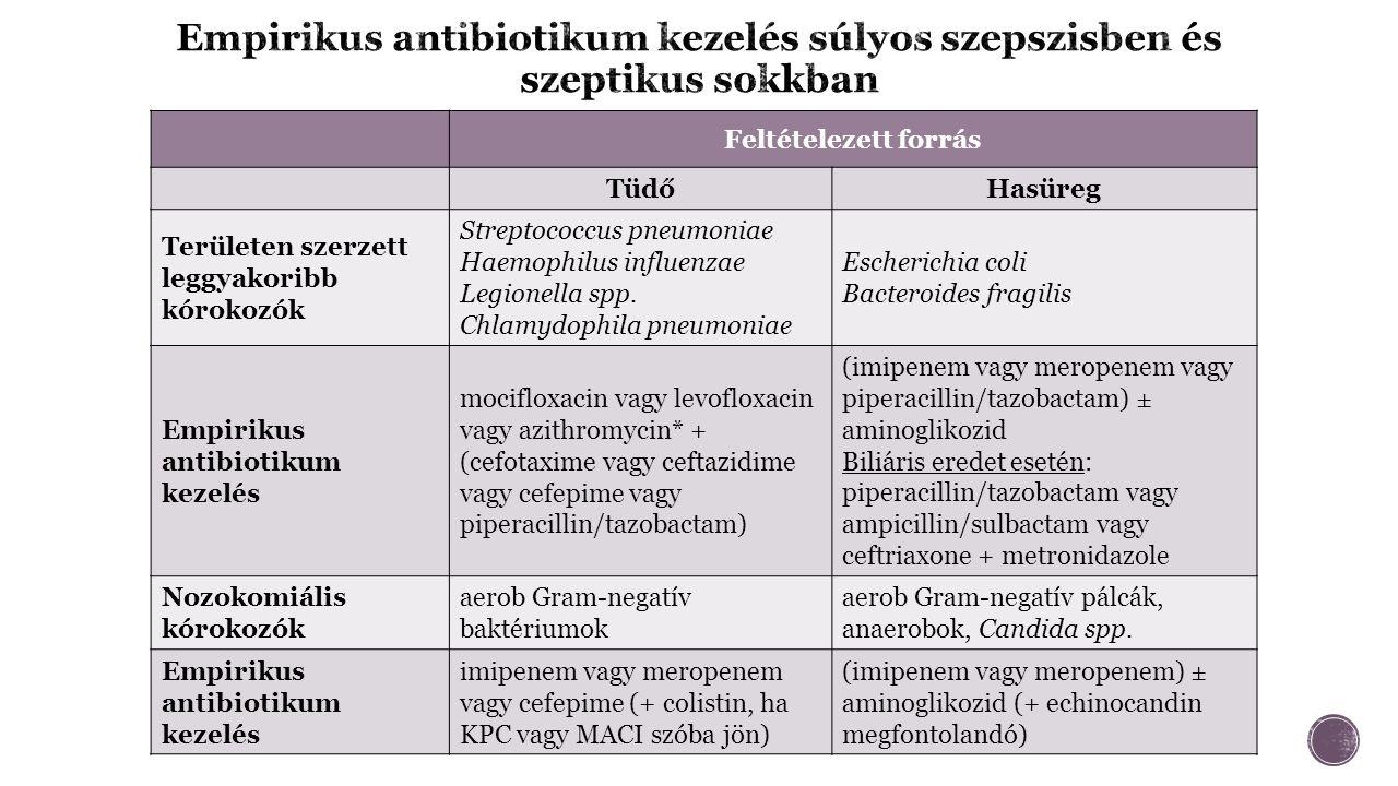 Feltételezett forrás TüdőHasüreg Területen szerzett leggyakoribb kórokozók Streptococcus pneumoniae Haemophilus influenzae Legionella spp.