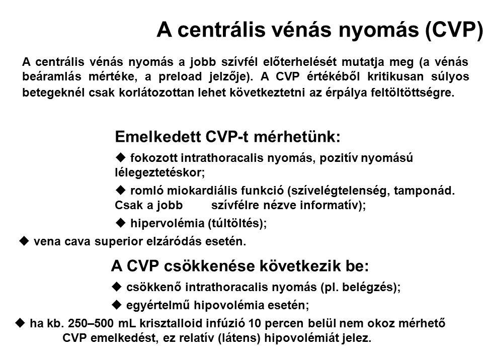 A centrális vénás nyomás a jobb szívfél előterhelését mutatja meg (a vénás beáramlás mértéke, a preload jelzője). A CVP értékéből kritikusan súlyos be