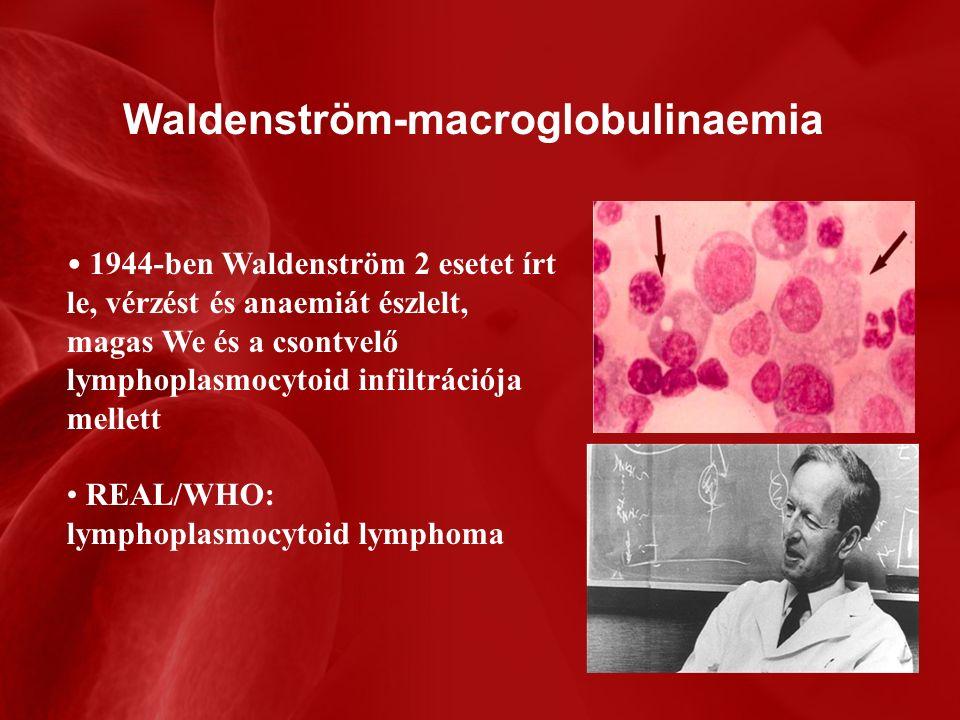 Waldenström-macroglobulinaemia 1944-ben Waldenström 2 esetet írt le, vérzést és anaemiát észlelt, magas We és a csontvelő lymphoplasmocytoid infiltrációja mellett REAL/WHO: lymphoplasmocytoid lymphoma