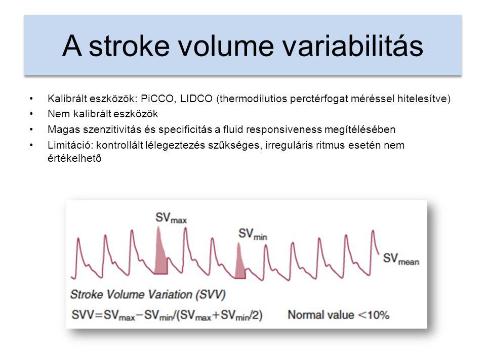 A stroke volume variabilitás Kalibrált eszközök: PiCCO, LIDCO (thermodilutios perctérfogat méréssel hitelesítve) Nem kalibrált eszközök Magas szenzitivitás és specificitás a fluid responsiveness megítélésében Limitáció: kontrollált lélegeztezés szűkséges, irreguláris ritmus esetén nem értékelhető