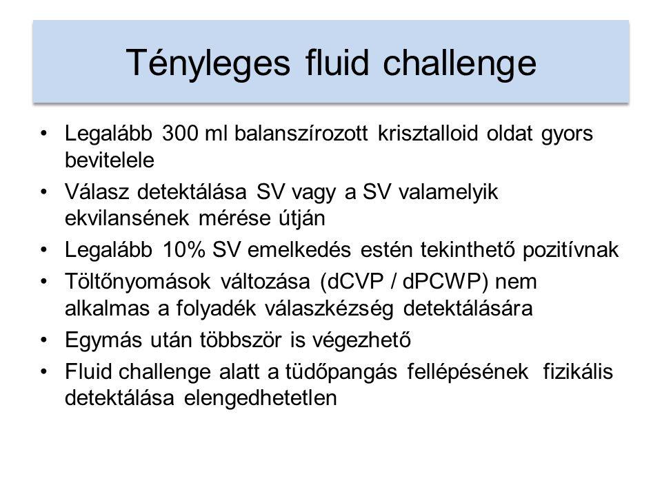 Tényleges fluid challenge Legalább 300 ml balanszírozott krisztalloid oldat gyors bevitelele Válasz detektálása SV vagy a SV valamelyik ekvilansének mérése útján Legalább 10% SV emelkedés estén tekinthető pozitívnak Töltőnyomások változása (dCVP / dPCWP) nem alkalmas a folyadék válaszkézség detektálására Egymás után többször is végezhető Fluid challenge alatt a tüdőpangás fellépésének fizikális detektálása elengedhetetlen