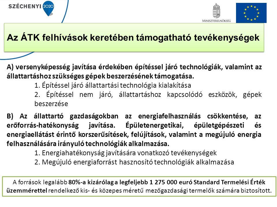 Az ÁTK felhívások keretében támogatható tevékenységek A) versenyképesség javítása érdekében építéssel járó technológiák, valamint az állattartáshoz sz