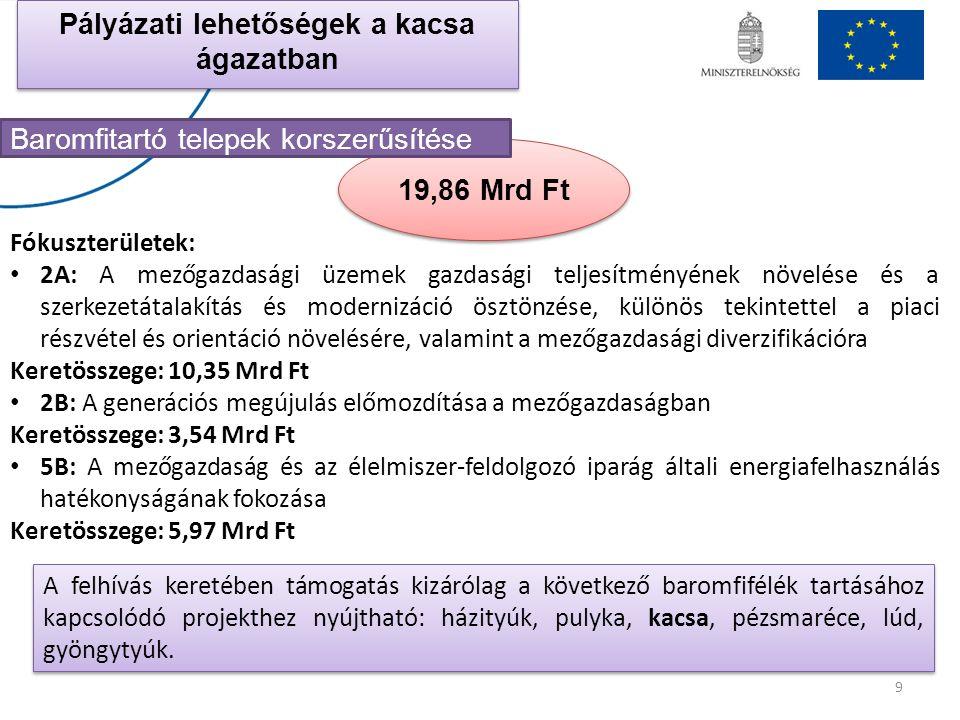 19,86 Mrd Ft 9 Pályázati lehetőségek a kacsa ágazatban Baromfitartó telepek korszerűsítése A felhívás keretében támogatás kizárólag a következő baromf