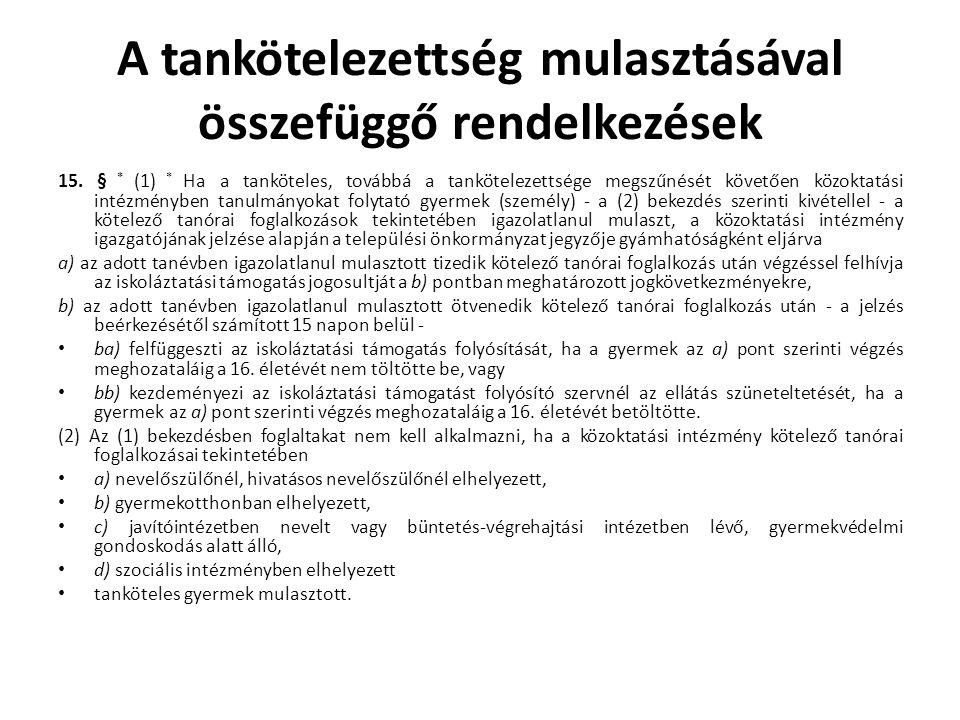 A tankötelezettség mulasztásával összefüggő rendelkezések 15. § * (1) * Ha a tanköteles, továbbá a tankötelezettsége megszűnését követően közoktatási