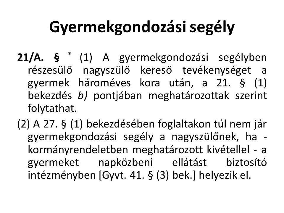 Gyermekgondozási segély 21/A.