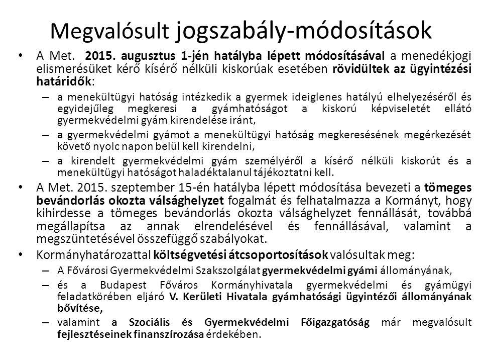 Megvalósult jogszabály-módosítások A Met. 2015.