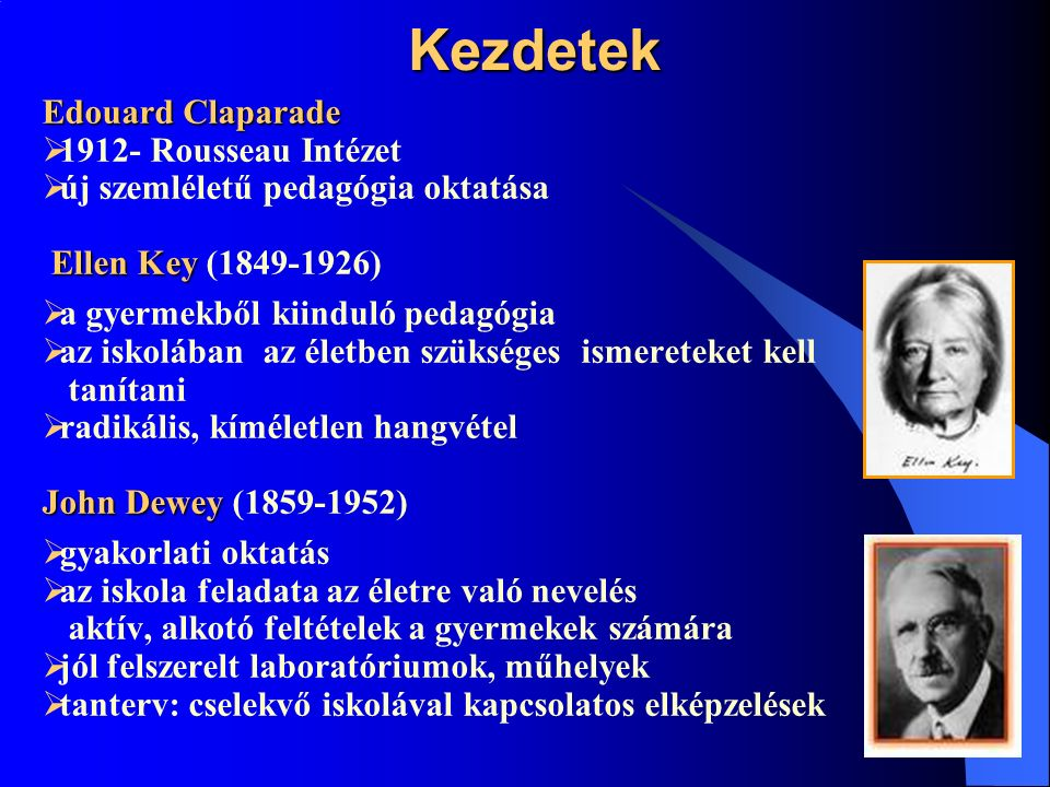 Kezdetek Edouard Claparade  1912- Rousseau Intézet  új szemléletű pedagógia oktatása Ellen Key Ellen Key (1849-1926)  a gyermekből kiinduló pedagógia  az iskolában az életben szükséges ismereteket kell tanítani  radikális, kíméletlen hangvétel John Dewey John Dewey (1859-1952)  gyakorlati oktatás  az iskola feladata az életre való nevelés aktív, alkotó feltételek a gyermekek számára  jól felszerelt laboratóriumok, műhelyek  tanterv: cselekvő iskolával kapcsolatos elképzelések