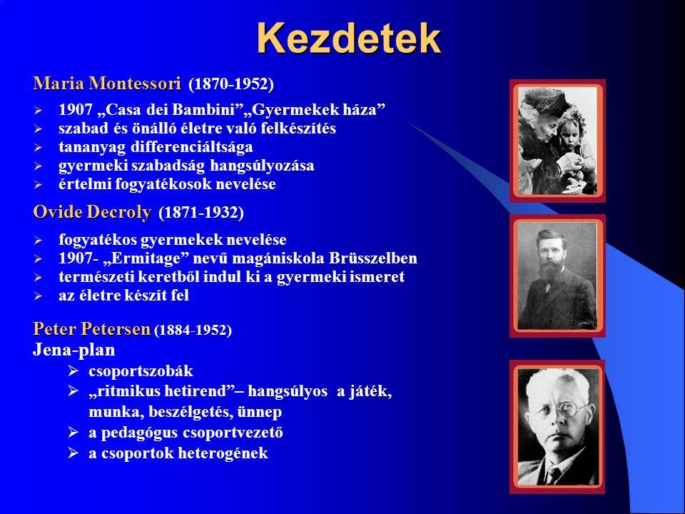 """Második szakasz """"New Education Fellowship / 1921- """"New Education Fellowship /Új Nevelés Ligája/ Celestine Freinet Celestine Freinet (1896-1966)  a gyermek közvetlen kapcsolata a világgal, fokozatosan megismerés, és alkalmazkodás  rajzolásra alkalmas asztalok és műhelyek  tanító feladata a sikerélmény biztosítása Rudolf Steiner Rudolf Steiner (1861-1925)  antropozófia neveléselméletének kidolgozása  Waldorf iskola megalapítása  oktatás az epochalitás elvére épül  a tananyag blokkokban való tanítása  a bukás ismeretlen  évente osztálybemutatók"""