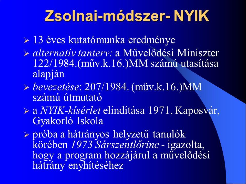 Zsolnai-módszer- NYIK  13 éves kutatómunka eredménye  alternatív tanterv: a Művelődési Miniszter 122/1984.(műv.k.16.)MM számú utasítása alapján  bevezetése: 207/1984.
