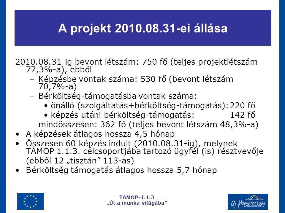 A projekt 2010.08.31-ei állása 2010.08.31-ig bevont létszám: 750 fő (teljes projektlétszám 77,3%-a), ebből –Képzésbe vontak száma: 530 fő (bevont létszám 70,7%-a) –Bérköltség-támogatásba vontak száma: önálló (szolgáltatás+bérköltség-támogatás):220 fő képzés utáni bérköltség-támogatás:142 fő mindösszesen: 362 fő (teljes bevont létszám 48,3%-a) A képzések átlagos hossza 4,5 hónap Összesen 60 képzés indult (2010.08.31-ig), melynek TÁMOP 1.1.3.