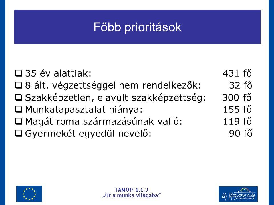 Főbb prioritások  35 év alattiak: 431 fő  8 ált.