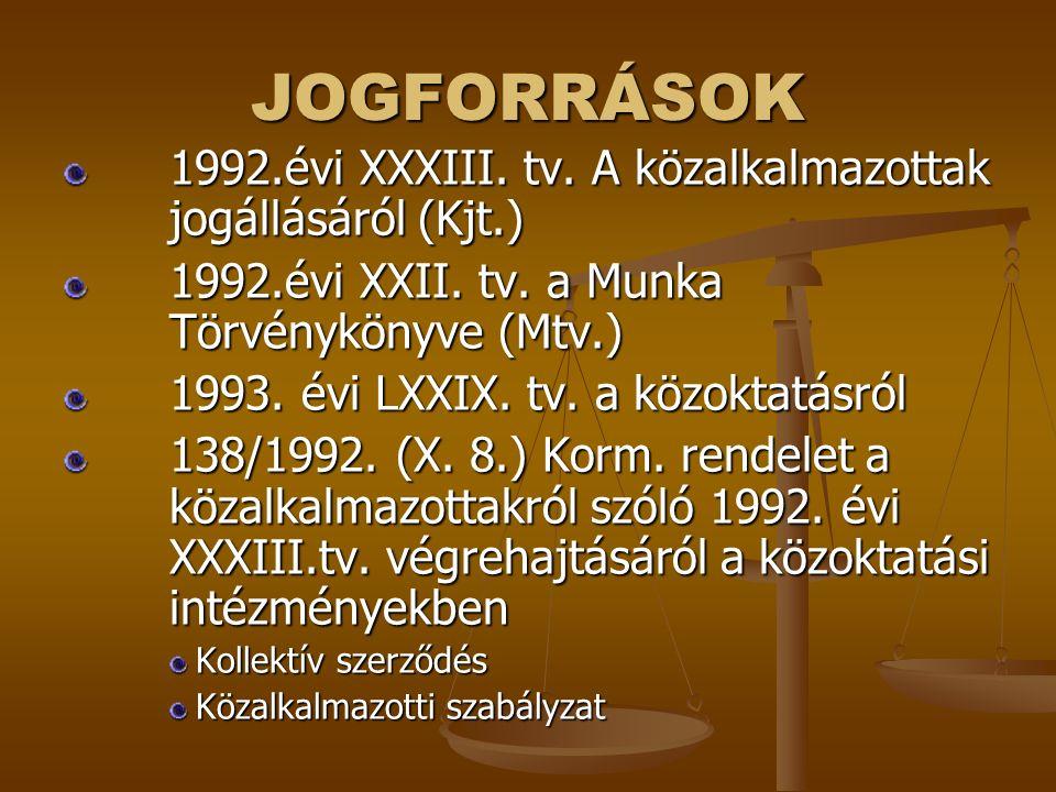 JOGFORRÁSOK 1992.évi XXXIII. tv. A közalkalmazottak jogállásáról (Kjt.) 1992.évi XXII. tv. a Munka Törvénykönyve (Mtv.) 1993. évi LXXIX. tv. a közokta