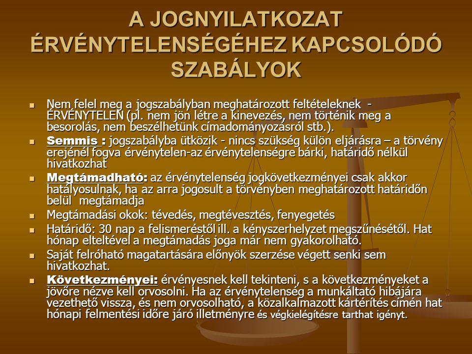 A JOGNYILATKOZAT ÉRVÉNYTELENSÉGÉHEZ KAPCSOLÓDÓ SZABÁLYOK Nem felel meg a jogszabályban meghatározott feltételeknek - ÉRVÉNYTELEN (pl.