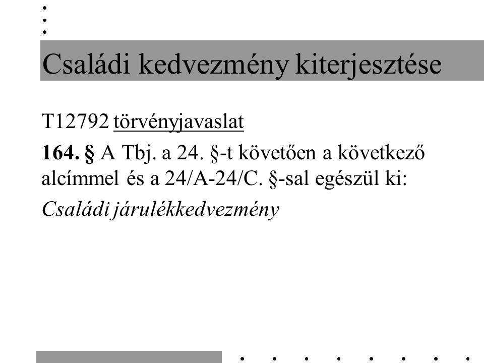 Családi kedvezmény kiterjesztése T12792 törvényjavaslat 164.