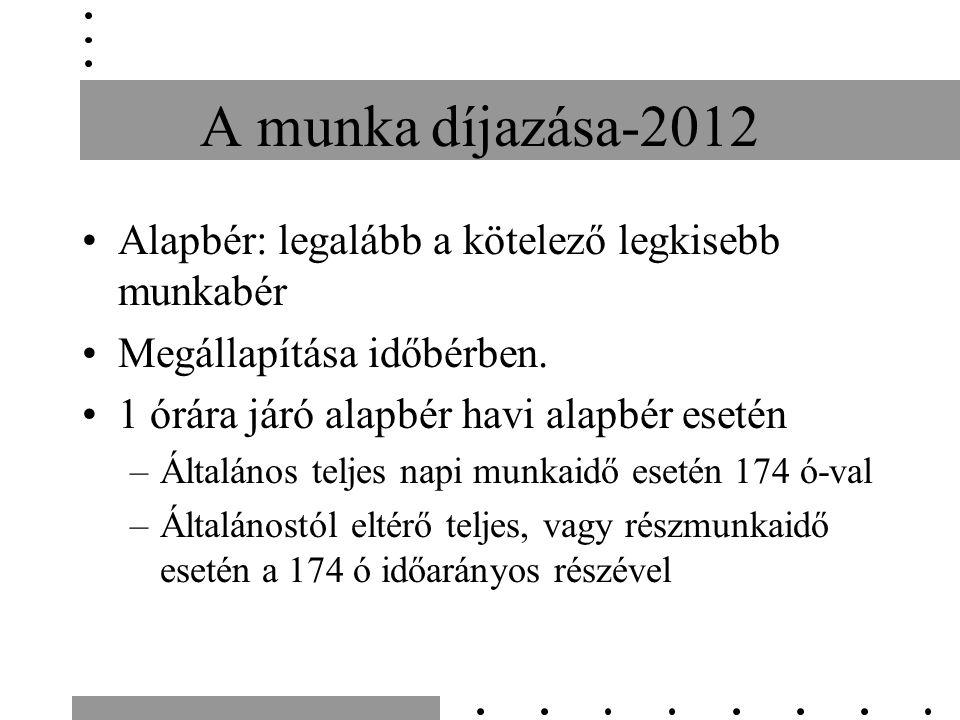 A munka díjazása-2012 Alapbér: legalább a kötelező legkisebb munkabér Megállapítása időbérben.