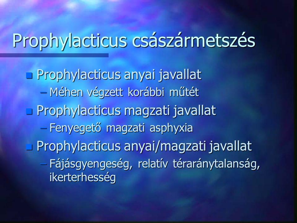 Prophylacticus császármetszés n Prophylacticus anyai javallat –Méhen végzett korábbi műtét n Prophylacticus magzati javallat –Fenyegető magzati asphyxia n Prophylacticus anyai/magzati javallat –Fájásgyengeség, relatív téraránytalanság, ikerterhesség