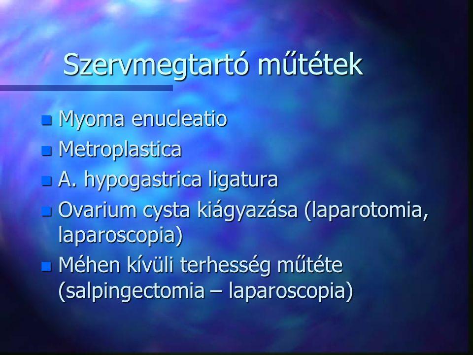 Szervmegtartó műtétek n Myoma enucleatio n Metroplastica n A.