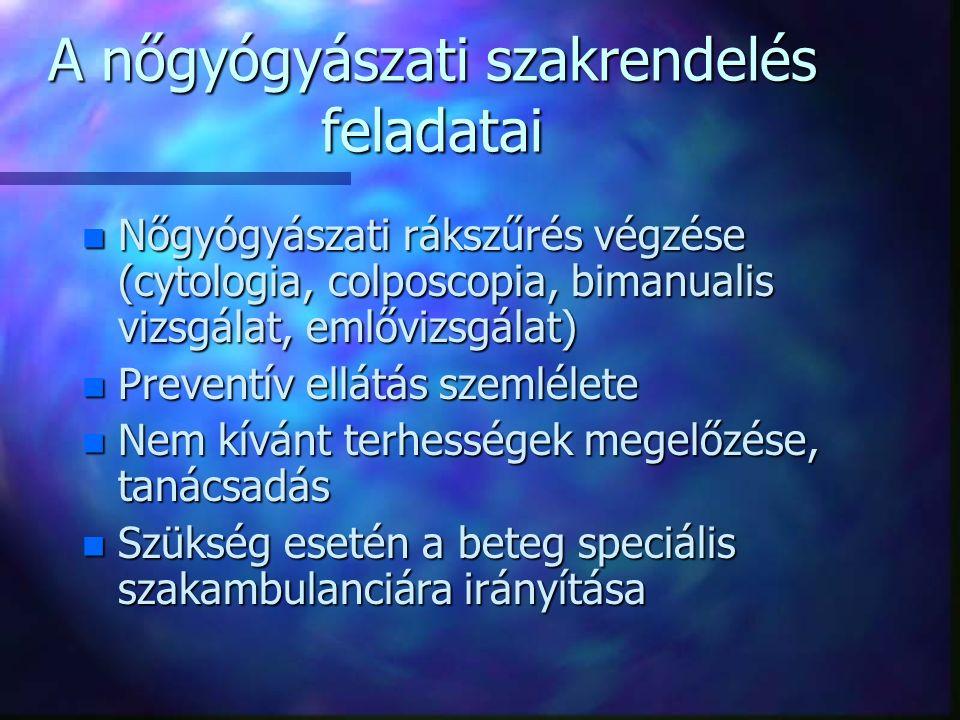 A nőgyógyászati szakrendelés feladatai n Nőgyógyászati rákszűrés végzése (cytologia, colposcopia, bimanualis vizsgálat, emlővizsgálat) n Preventív ellátás szemlélete n Nem kívánt terhességek megelőzése, tanácsadás n Szükség esetén a beteg speciális szakambulanciára irányítása