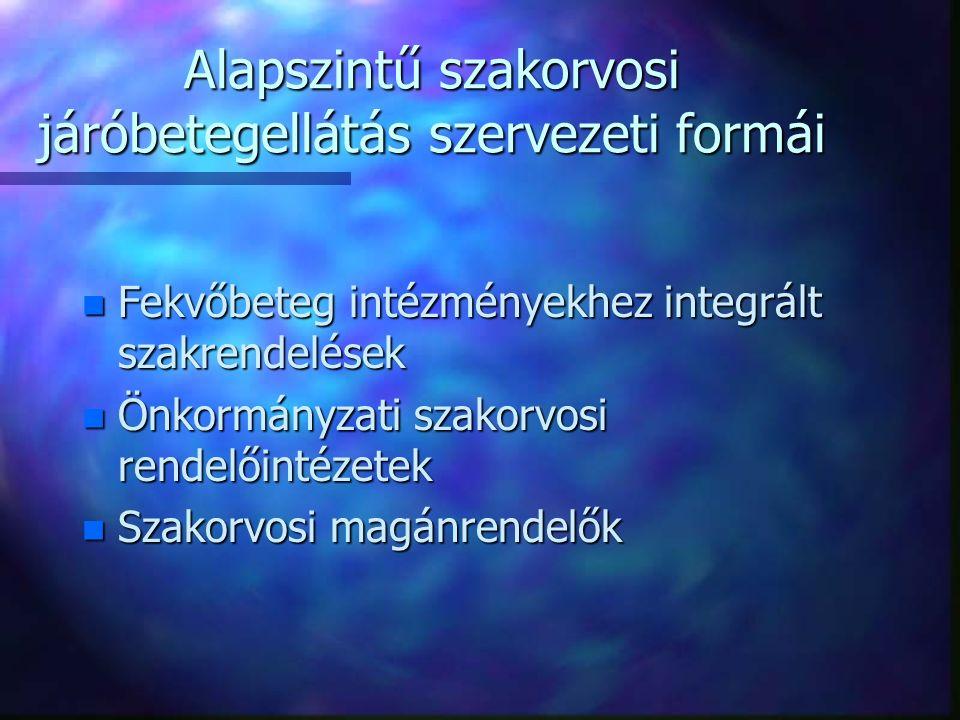 Alapszintű szakorvosi járóbetegellátás szervezeti formái n Fekvőbeteg intézményekhez integrált szakrendelések n Önkormányzati szakorvosi rendelőintézetek n Szakorvosi magánrendelők
