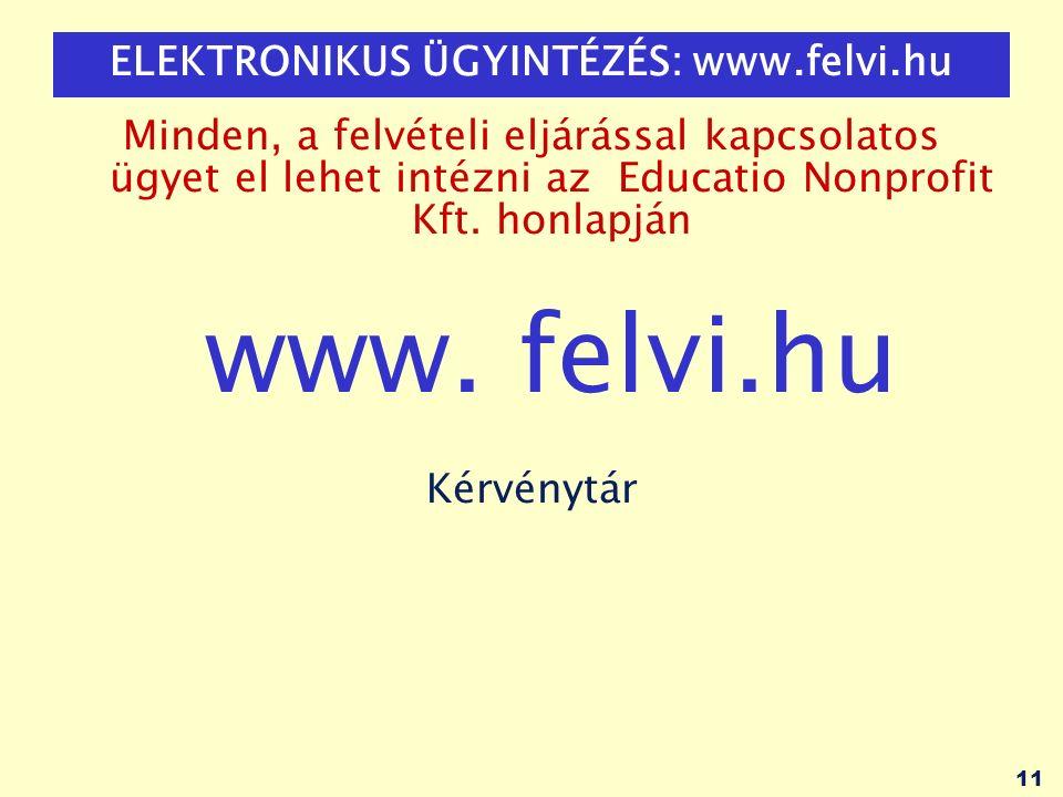 11 ELEKTRONIKUS ÜGYINTÉZÉS: www.felvi.hu Minden, a felvételi eljárással kapcsolatos ügyet el lehet intézni az Educatio Nonprofit Kft.