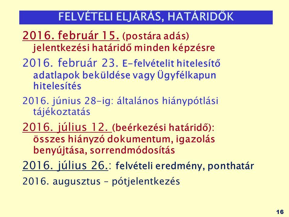 16 FELVÉTELI ELJÁRÁS, HATÁRIDŐK 2016. február 15.