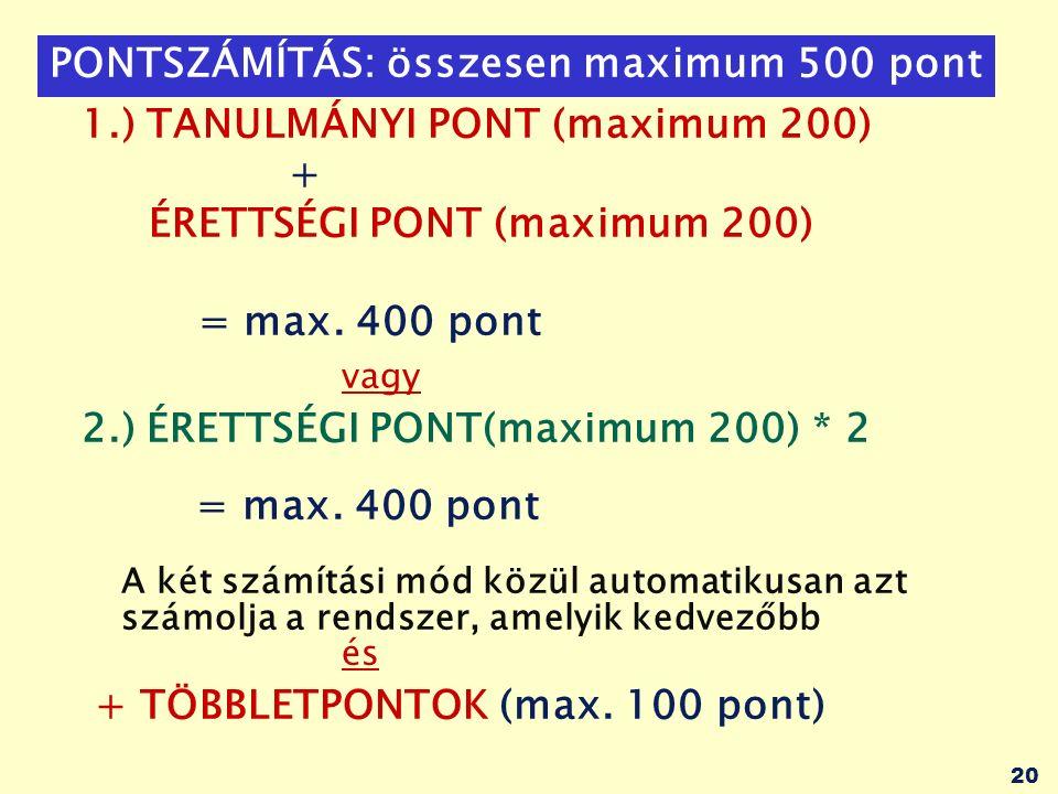 20 PONTSZÁMÍTÁS: összesen maximum 500 pont 1.) TANULMÁNYI PONT (maximum 200) + ÉRETTSÉGI PONT (maximum 200) = max.