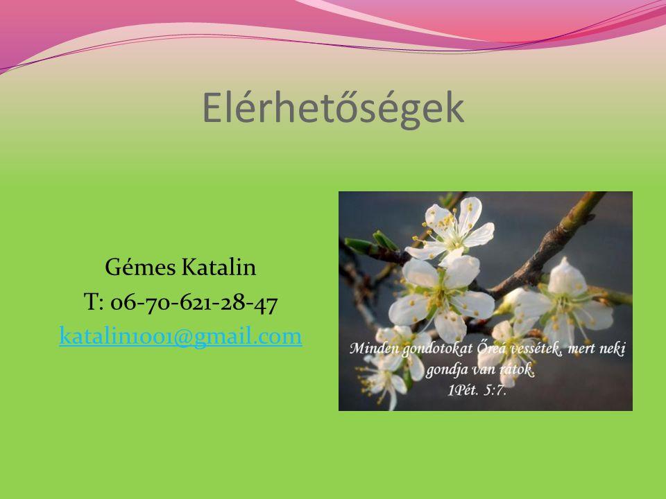 Elérhetőségek Gémes Katalin T: 06-70-621-28-47 katalin1001@gmail.com