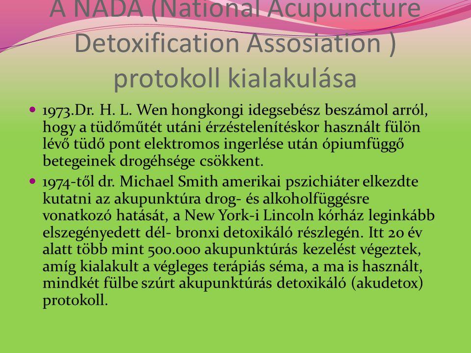 A NADA (National Acupuncture Detoxification Assosiation ) protokoll kialakulása 1973.Dr. H. L. Wen hongkongi idegsebész beszámol arról, hogy a tüdőműt