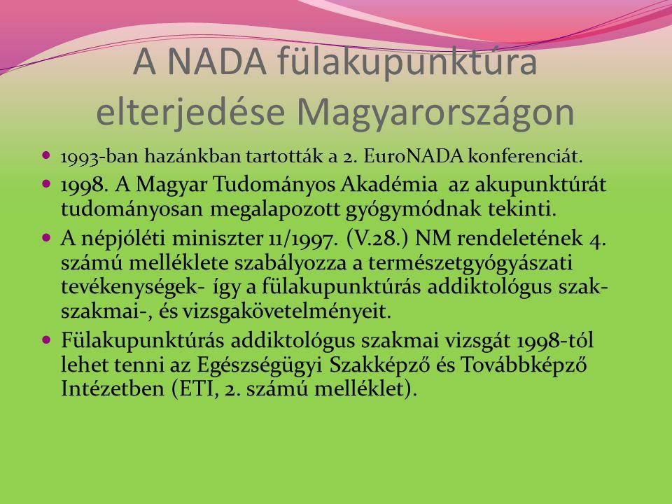 A NADA fülakupunktúra elterjedése Magyarországon 1993-ban hazánkban tartották a 2.