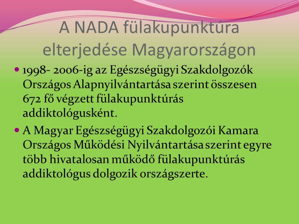 A NADA fülakupunktúra elterjedése Magyarországon 1998- 2006-ig az Egészségügyi Szakdolgozók Országos Alapnyilvántartása szerint összesen 672 fő végzett fülakupunktúrás addiktológusként.