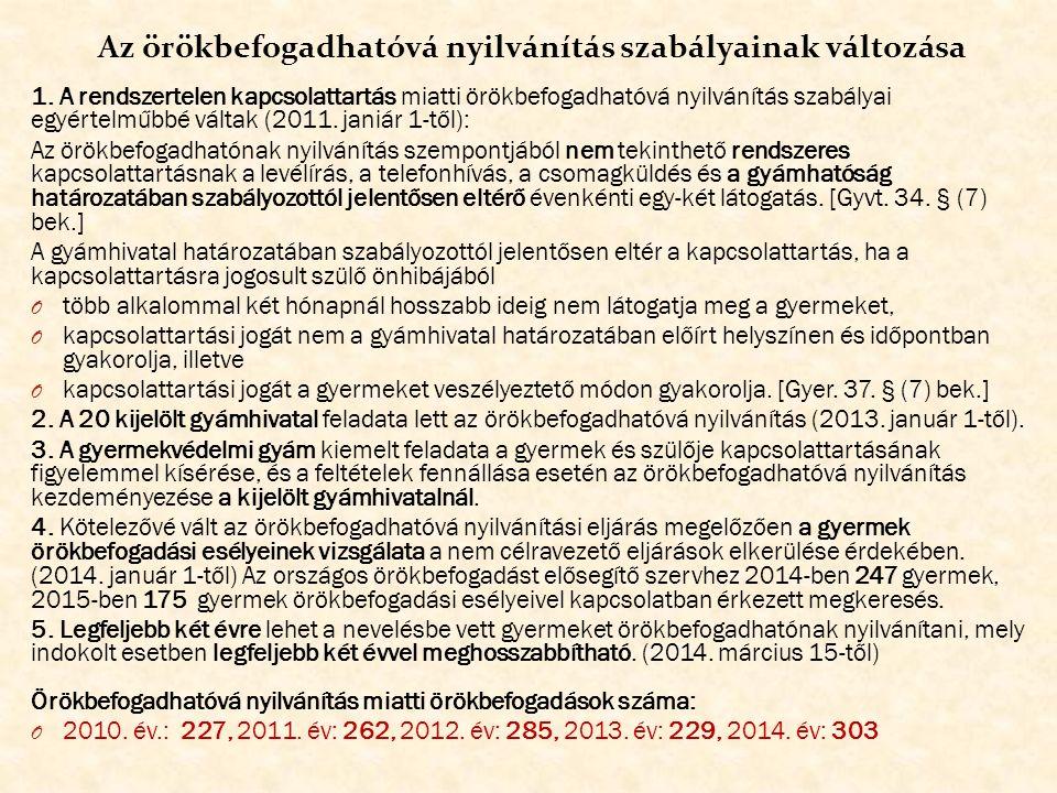 Az örökbefogadhatóvá nyilvánítások 2010-2014.