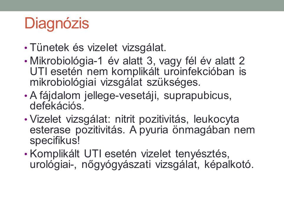 Diagnózis Tünetek és vizelet vizsgálat.