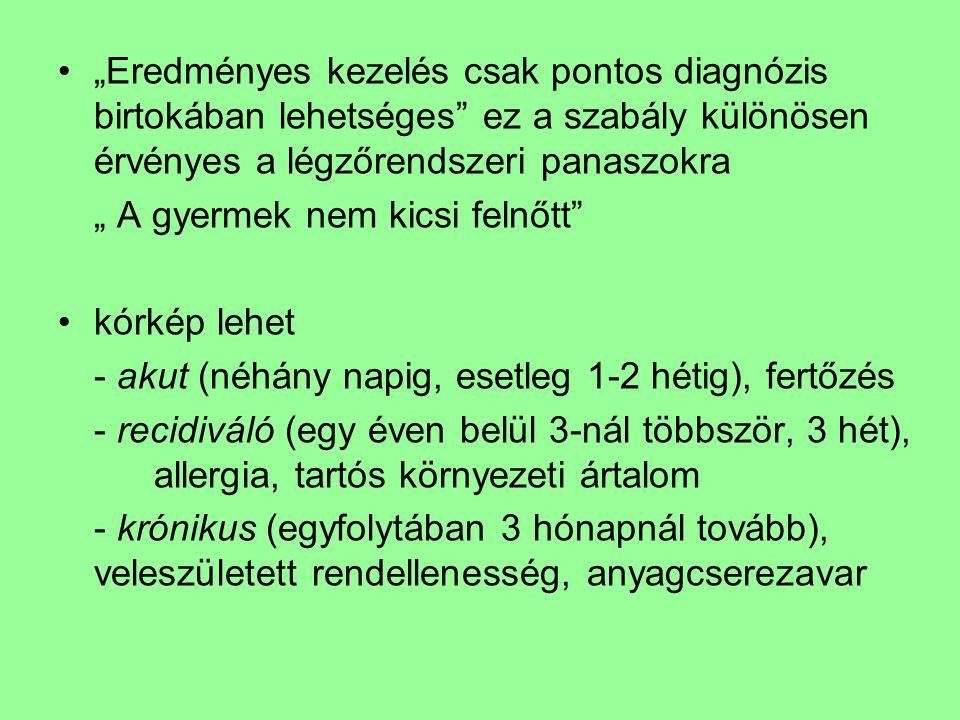 """""""Eredményes kezelés csak pontos diagnózis birtokában lehetséges ez a szabály különösen érvényes a légzőrendszeri panaszokra """" A gyermek nem kicsi felnőtt kórkép lehet - akut (néhány napig, esetleg 1-2 hétig), fertőzés - recidiváló (egy éven belül 3-nál többször, 3 hét), allergia, tartós környezeti ártalom - krónikus (egyfolytában 3 hónapnál tovább), veleszületett rendellenesség, anyagcserezavar"""