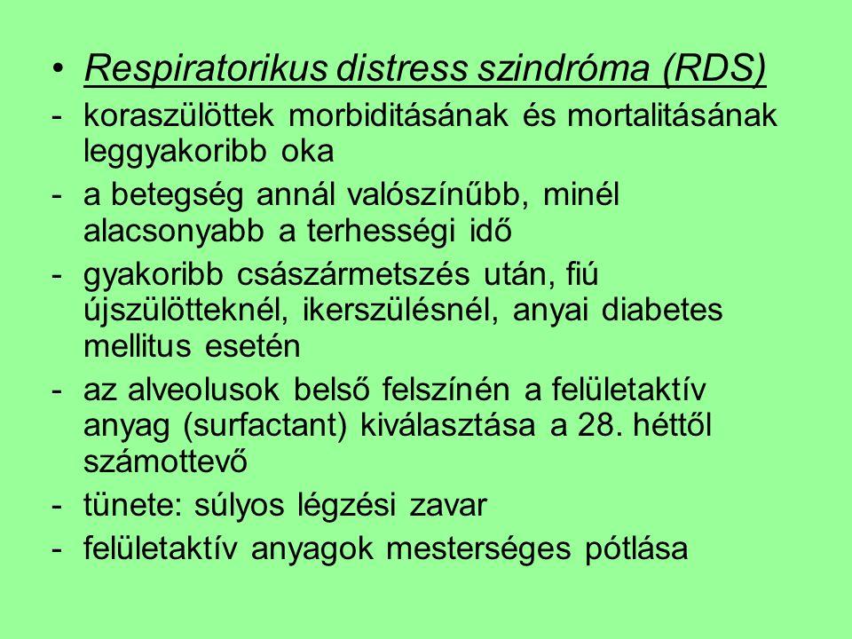 Respiratorikus distress szindróma (RDS) -koraszülöttek morbiditásának és mortalitásának leggyakoribb oka -a betegség annál valószínűbb, minél alacsonyabb a terhességi idő -gyakoribb császármetszés után, fiú újszülötteknél, ikerszülésnél, anyai diabetes mellitus esetén -az alveolusok belső felszínén a felületaktív anyag (surfactant) kiválasztása a 28.